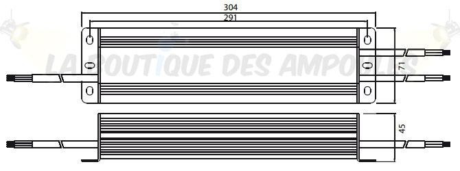 Dimensions alimentation 24V 200W