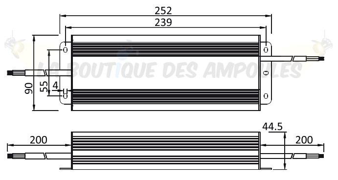 Dimensions alimentation 24V 250W