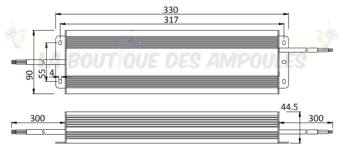 Dimensions alimentation 24V 300W