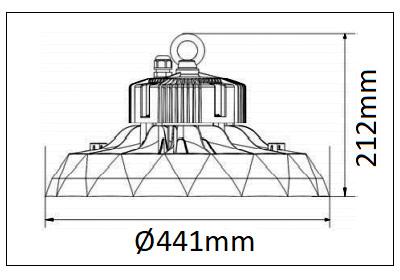 Dimensions BENEITO ufo lens 240W