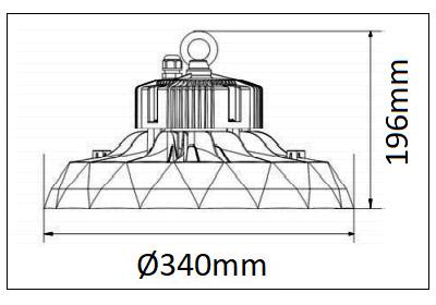 Dimensions BENEITO ufo lens 100W-150W-200W